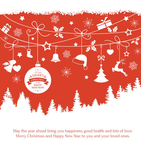 renos de navidad: Varios cuelgan adornos de Navidad como la chuchería de la Navidad, sombrero de santa, reno, ángel, corazón, el presente y el árbol de Navidad con una cinta formando una frontera versátil aislado en blanco.