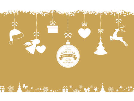 Set of hanging Christmas ornaments like bauble, santa hat, reindeer, angel, heart, present and tree on beige golden background. The bottom and top borders of snow and Christmas symbols will tile seamlessly.