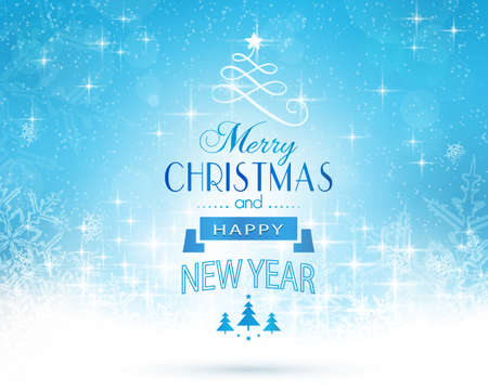 blue snowflakes: Abstract festive background with out of focus light dots, stars, snowflakes and sparkling light effects and the lettering Merry Christmas and Happy New Year