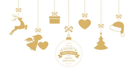 reno: Colgantes adornos de Navidad como la chucher�a de la Navidad, sombrero de santa, reno, �ngel, coraz�n, el presente y el �rbol de Navidad con una cinta formando una frontera vers�til aislado en blanco.