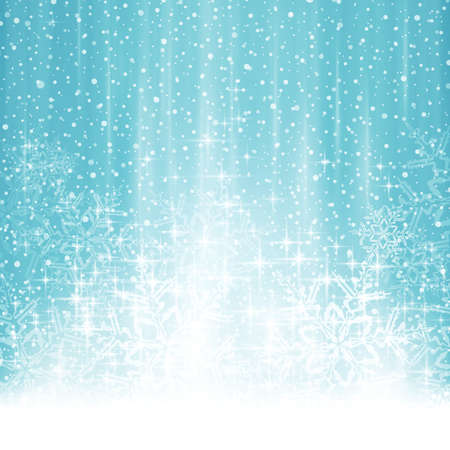 snow: Blue whte Christmas, winter background with stylized snow flake Christmas tree. Light effects, snowfall and big snow flakes give it a dreamy and festive feel. Space for your text. Illustration