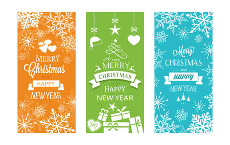christmas ornaments: Set of typography Merry Christmas and Happy New Year banners with embellishments and Christmas ornaments. Illustration