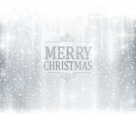 Abstracte zilveren winter, Kerstkaart met sneeuwvlokken, sneeuwval, uit focus licht punten, sterren en lichteffecten en de tekst Vrolijk kerstfeest. Kopieer de ruimte