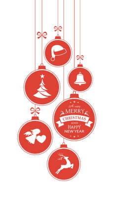 christmas bauble: Set of hanging Christmas balls with ornaments such as Christmas tree, Santa hat, reindeer, angel and bell with a ribbons forming a versatile vertical border isolated on white.