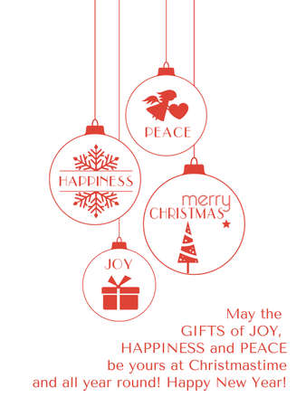 christmas baubles: Set of 4 hanging Christmas baubles with Christmas tree, snowflake and angel and the words, joy, peace, happiness and Merry Christmas isolated on white. Illustration