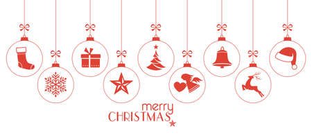 versatile: Set of hanging Christmas balls with ornaments such as Christmas tree, Santa hat, reindeer, angel, stocking, present, Christmas star and bell with a ribbon forming a versatile border isolated on white.