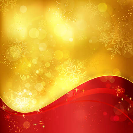 magical: Abstract festive traditional golden Christmas background with a wavy red pattern and blurry lights, stars and snowflakes for the magical season to come.
