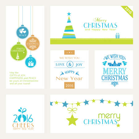 christmas baubles of modern design: Flat, modern Christmas and Happy New Year banners isolated on white with baubles, Christmas trees and sayings for the festive Christmas and New Years season to come.