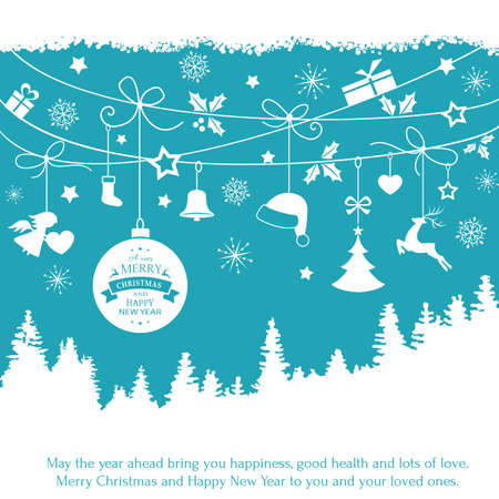 hanging on: Various Christmas ornaments such as Christmas bauble, santa hat, reindeer, angel, heart, present, Christmas tree and embellishments hanging over a landscape of fir trees on a blue backdrop. Illustration