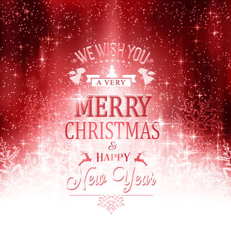 light effects: Shiny light effects with sparkling stars and glittering snowflakes forming a stylized Christmas tree on a red abstract backdrop with Merry Christmas and Happy New Year. Illustration