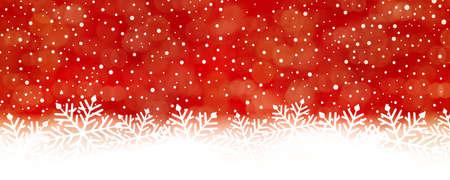 Panorama rood witte sneeuw vallen achtergrond met rood aan de top te draaien in whte aan de onderkant met grote sneeuwvlokken