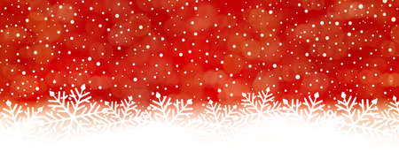 Panorama red white snow fall backdrop with red at the top turning into whte at the bottom with big snowflakes