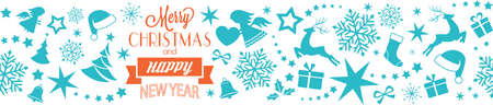 stars and symbols: A seamless border with Merry Christmas and Happy New Year typography and Christmas, winter symbols, ornaments like Christmas trees, Santa hats, ribbons, gifts, angels, hearts, stars and snowflakes. Illustration
