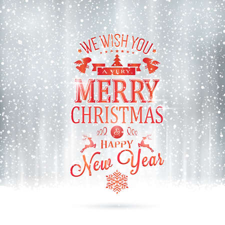 christmas greeting: Red Wishing you a very Merry Christmas and Happy New Year lettering on a magical silver backdrop with snowfall and light effects.