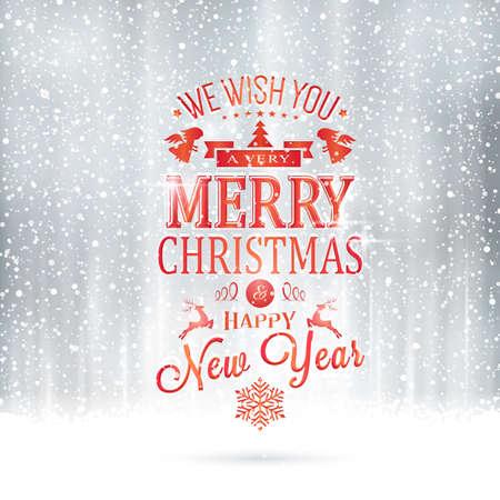 mágica: Rojo Te deseo una muy Feliz Navidad y Feliz Año Nuevo letras en un telón de fondo de plata mágica con las nevadas y efectos de luz.
