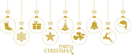 Set of golden hanging Christmas balls with ornaments such as Christmas tree, Santa hat, reindeer, angel, stocking, present, Christmas star and bell with a ribbon forming a  border isolated on white. Illustration