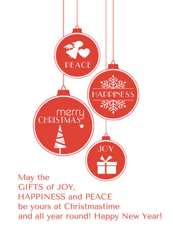 Set of 4 hanging Christmas baubles with Christmas tree, snowflake and angel and the words, joy, peace, happiness and Merry Christmas isolated on white. Illustration