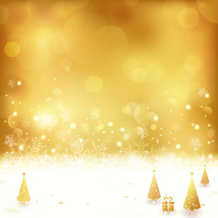 light effects: Festive gold background with out of focus light dots, stars, snowflakes, Christmas trees and gift. Light effects give it a festive and dreamy feeling.