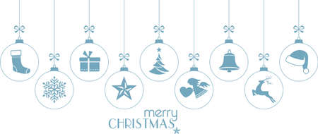 Set of hanging Christmas balls with ornaments such as Christmas tree, Santa hat, reindeer, angel, stocking, present, Christmas star and bell with a ribbon forming a versatile border isolated on white.
