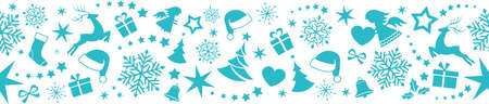 Blue flat monochrome border design with Christmas and winter symbols that will tile seamlessly horizontally. Great for decoration. Illustration