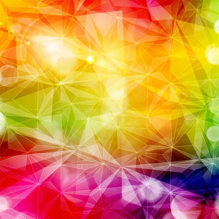 saturated: Abstract colorful geometric pattern with various light effects. Copy space. Bright, saturated and vivid rainbow colors.