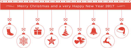 Set of Christmas balls with ornaments such as Christmas tree, Santa hat, reindeer, angel, stocking, present, snowflake, Christmas star and bell hanging with a ribbon from a Merry Christmas and Happy New Year text banner. Illustration
