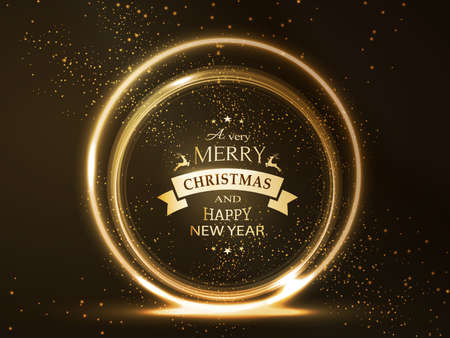gold circle: Round golden glowing frame with Merry Christmas and Happy New Year typography and light effects for a soft, sparkling and shiny holiday season design.