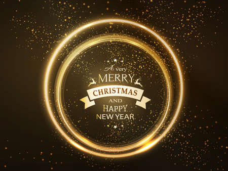 Round golden glowing frame with Merry Christmas and Happy New Year typography and light effects for a soft, sparkling and shiny holiday season design.