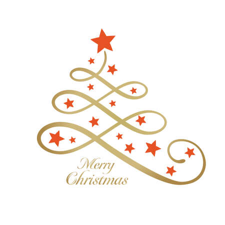 decorate element: Line art golden Christmas tree made of loops and decorated with red stars and the wording Merry Christmas in golden. Can be used as a design element or on a greeting card.
