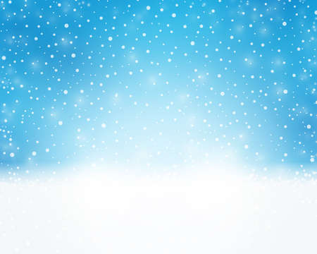 Abstract light blue background with snowflakes as a dreamy backdrop for winter or Christmas designs.