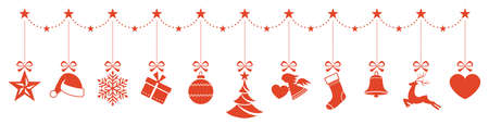 christmas baubles: Set of Christmas ornaments hanging from a star border and forming a header for any Christmas design.
