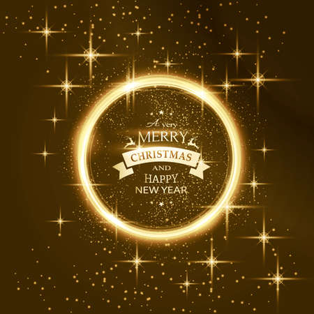 Round golden glowing frame surrounded by stars on dark background with the text Merry Christmas and Happy New Year.