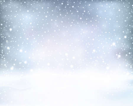 snow fall: Soft and dreamy winter background with light effects and snow fall in silver blue white shades. Illustration