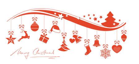 Set di 12 ornamenti di Natale appeso da un bordo ondulato sormontato da un albero di Natale e le stelle e scritto a mano di Buon Natale sotto. Vettoriali