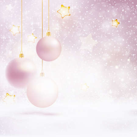 Abstract soft blurry background with baubles, snowfall, bokeh lights, and stars. The festive feeling makes it a great backdrop for Christmas designs. Copyspace.
