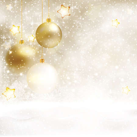 Festive white beige Christmas background with baubles and snow. Golden stars, light effects and snowfall give this textured background a festive and magical design. Illustration