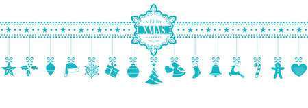 Set of 15 Christmas icons, symbols hanging from a horizontal border with a snowflake containing the words Merry XMAS in the middle. In light blue isolated on white. Illustration