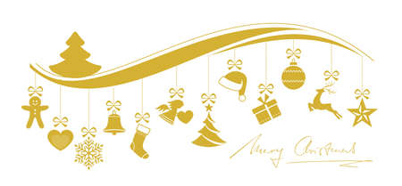 Set of 12 Christmas ornaments hanging from a wavy border topped with a Christmas tree and handwritten Merry Christmas underneath. Illustration