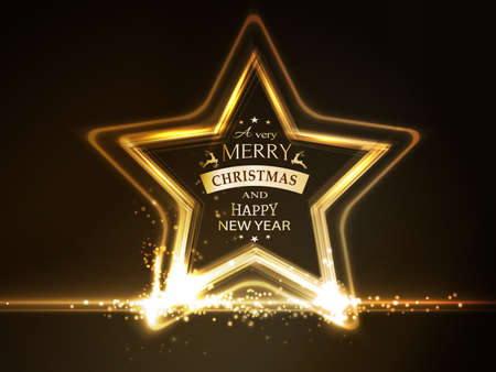 overlying: Overlying semitransparent stars with light effects form a golden glowing star frame with the wording Merry Christmas and Happy New Year on dark brown background.