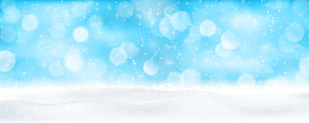 winter holiday: Light effects, sparkling out of focus lights and snowfall for a magical abstract backdrop panorama for the festive Christmas, winter holiday season to come. Illustration