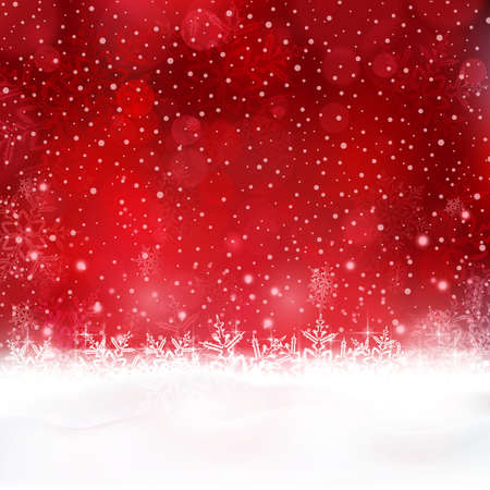 festive season: Shiny light effects with blurry lights and glittering snowflakes in shades of red and white. Great for the festive season of Christmas to come Illustration
