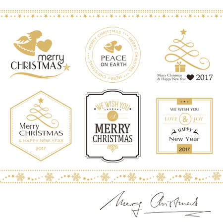 Set of flat Christmas icons, symbols in gold and black on white with Merry Christmas and Happy New Year typography.