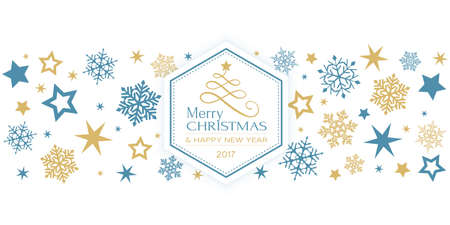 Border design with snow flakes and stars and in the middle a hexagon with a stylized Christmas tree and the text Merry Christmas and Happy New Year 2017 in blue and gold.