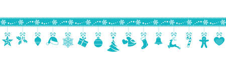 Set of 15 blue Christmas ornaments hanging from a border made from snowflakes and stars isolated on white.