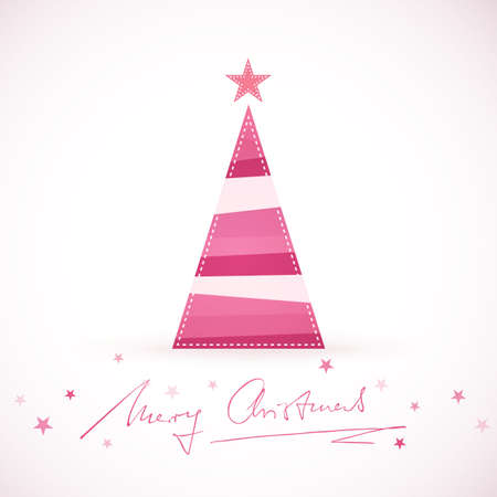 A triangular shaped Christmas tree made of differently colored stripes in shades of purple, pink and red with a star tree topper and handwritten Merry Christmas surrounded by little stars. Illustration