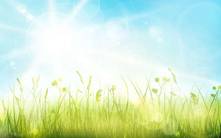 Green grass border with spring sun and blue sky. Light effects and blurred light dots  give it a dreamy and soft feeling for the spring, easter season. Illustration