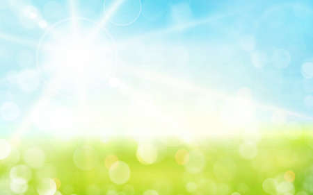 sky blue: Spring background, blurred light dots, blue sky with sun rays. Great background for any nature, spring, Easter theme.