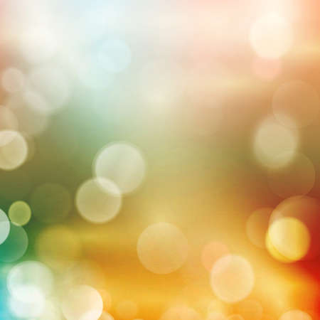Abstract colourful blurred background in shades of reds, pinks, yellows, greens and blues with defocused light dots. Bokeh background Illustration