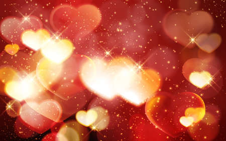 Golden glowing hearts on a red blur background with light effects, glittering stars and faint blurred lights. Festive, romantic and magical, perfect for any romantic love theme, Valentine's day theme.