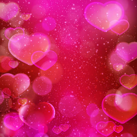 Abstract blurred light dots and hearts background in shades of dark red, purple, magenta and pink with light effects. Romantic love theme, perfect for Valentines day.